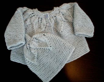 Baby Sweater Set  - Hand knit Infant S - 33