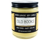 Old Books - 8 oz Book Lover's Soy Candle - Book Candle - Book Lover Gift - Scented Soy Candle - Frostbeard Studio