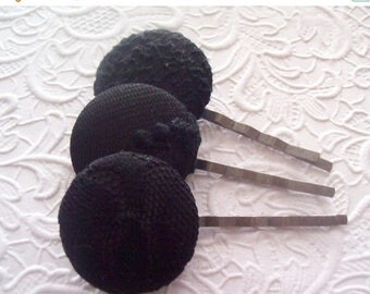 CLEARANCE - Black - 3 fabric covered button hair-pins