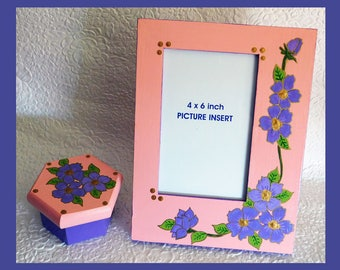 Hand Painted, Frame and Trinket Box Set, Matching Frame and Trinket Box, Floral Frame, Hexagon Trinket Box, Gift Set For Her, Floral Design