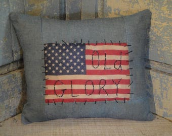 SMALL Flag Pillow | Old Glory Pillow | Americana Pillow | American Flag Pillow | Primitive Flag Pillow | Patriotic Pillow