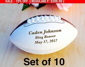 Ring Bearer Gift, Engraved Football, Mini Football, Groomsmen, Engraved Gift, Christmas Gift, Wedding Gift, Set of 10 Balls, Design #3