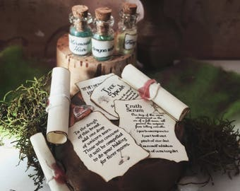 Miniature Spell Pages snd Scrolls, magical dollhouse apothecary, witches and wizards, 1:12 scale