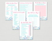 Beach Bridal Shower Games Package / Nautical Bridal Shower / Pink Nautical / Seashells / 6 Printable Bridal Games / INSTANT DOWNLOAD B125