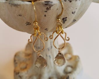 Honey Citrine Drop Gemstone Earrings Fancy Swirl Detail 14k Gold Vermiel Metal Hand Hammered