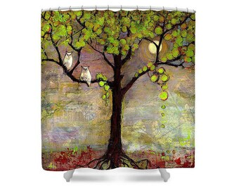 Tree Shower Curtain, Owl Decor, Tree of Life, Bathroom Art, Unique Wedding Gift For Couple