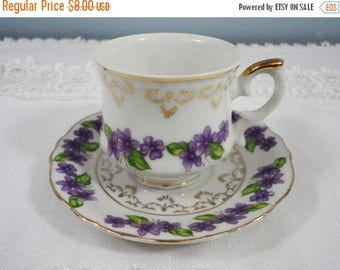 CLEARANCE SALE - Vintage Violets Demitasse Cup and Saucer