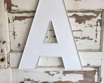 Vintage Sign Letter A Outdoor Weathered Sign Letter White Plastic Large Monogram