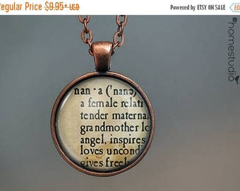 ON SALE - Nana Definition : Glass Dome Necklace, Pendant or Keychain Key Ring. Gift Present metal round art photo jewelry by HomeStudio