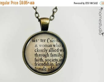 ON SALE - Sister Definition : Glass Dome Necklace, Pendant or Keychain Key Ring. Gift Present metal round art photo jewelry by HomeStudio
