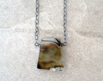 stone necklace, rustic unisex pendant, sterling silver chain, brown stone necklace, agate pendant,