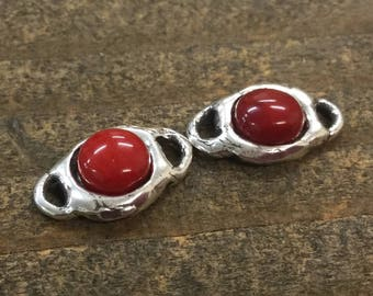 Red Coral cabochon Link Sterling Silver