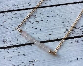 Mini Rose Quartz Bar Necklace