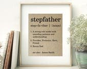 Stepfather Definition Personalized Burlap Print | Bonus Dad | Father's Day Gift for Stepfather from Stepdaughter Stepson | Stepdad gift