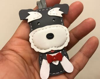 Small size - FiFi the Schnauzer cowhide leather charm ( Grey / white )