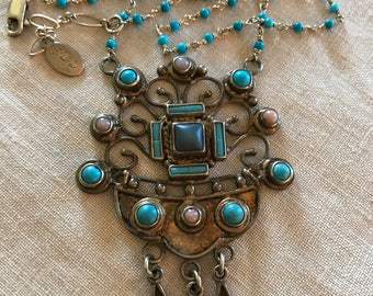 Sterling Silver and Turquoise Stone Necklace