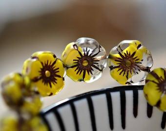 NEW! Yellow Daffodils - Premium Czech Glass Beads, Transparent Clear, Canary Yellow Mix, Metallic Dark Bronze, Hibiscus Flower 12mm - Pc 6