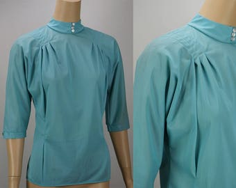 Vintage 1960s Aqua Nylon Blouse by Sweet Adeline B40
