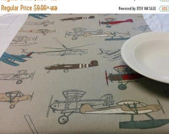 ON SALE ANTIQUE Planes Linens- Centerpiece Rounds, Squares  Choose size, Vintage and Modern Airplanes, Wedding, Bridal, Home Decor, Party