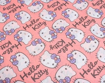 4337 - Hello Kitty Poplin Cotton Fabric - 55 Inch (Width) x 1/2 Yard (Length)