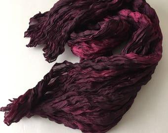 Pink Amethyst Silk Scarf Hand Dyed Fiber Art OOAK