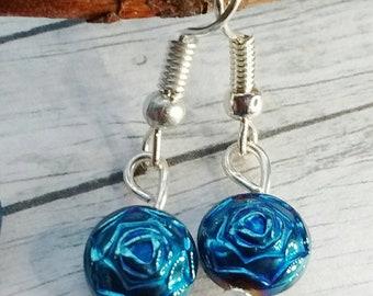 Blue Earrings, Flower Earrings, Small Bead Earrings, Drop Earrings, Everyday Earrings, Blue Bead Earrings, Teal Earrings, Floral Earrings