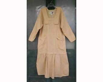 Angelheart Designs Retro Summer Illusion Dress in Gold Wheat Linen size M