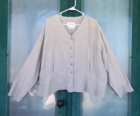 FLAX Engelheart Summer 2002 Peplum Jacket -2G/2X- Natural Striation Linen