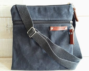 UNISEX Daily WAXED Canvas Messenger Bag, CrossBody Bag, Charcoal Black, zippered outside pocket  Small Bag, Passport Bag, Organizer bag