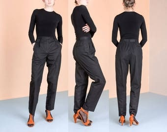 HIGH WAIST COTTON slacks pants trousers black Liz Claiborne pleated vintage women / Size 8 / 29 inch waist / classics minimal