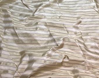 "Silk Taffeta Fabric - Cream Satin Stripes 54"" wide -By the Yard -"