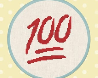 100 Emoji. Modern Simple Counted Cross Stitch Pattern. PDF File. Instant Download
