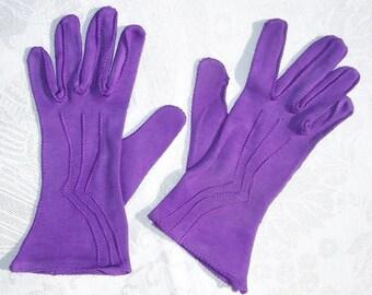 Vintage Cotton Wrist Gloves Purple Cotton