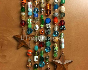 Suncatcher with Glass Beads, Crystals, and Rusty Tin Stars, Gift