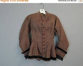 20% Sale - Victorian Brown Bodice, fits 30 inch bust, Vintage 1800s, As Is Vintage Blouse XS