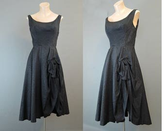 Vintage 1950 Black Dress with Gathered Skirt, fits 36 bust, Moire Taffeta