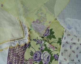 6 Vintage Hankies Purple & Yellow - Crochet Edges, Round, Embroidered, Floral, Lace,  1950s Hankie Lot