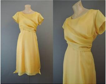 Vintage Butterscotch Gold Chiffon Dress, fits 40 inch bust, 1960s Party Dress
