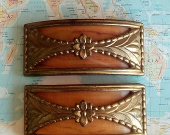 SALE! 2 wide vintage Art Nouveau brass metal floral accent handles w/amber butterscotch inserts