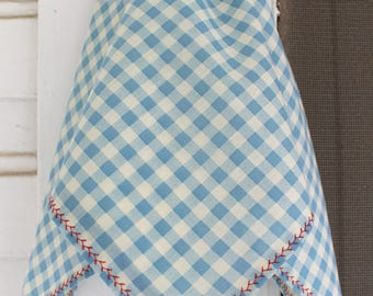 Vintage Gingham Scarf With Coral Red Stitching