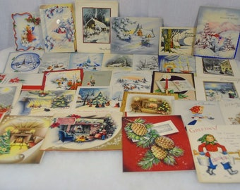 Vintage Christmas Cards Holiday Greetings from the 1940s 1950s Group of 30 - Candles, Houses, Churches, Trees, Lights, Poinsettias, etc.