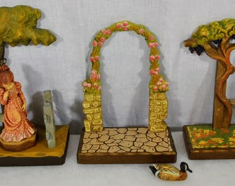 Lot of Vintage Anri Italy Wood Carved Display Pieces and Figurines -  3 Tree/Fence/Arbor Displays, a Young Woman Sarah Kay, and a Duck