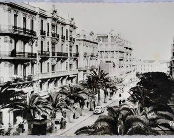 Oran Algeria RPPC Vintage - Street Scene with Old Car, Palm Trees and Apartments