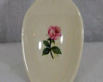 Vintage Ceramic Spoon - Floral Rose Pattern - Probably Hall