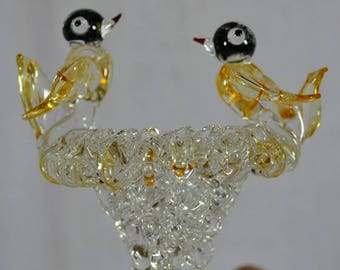 Vintage Hand Blown Spun Glass Bird Bath with Two Birds on Top