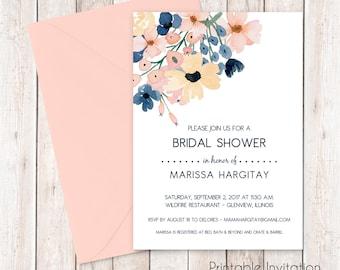 Watercolor Flowers Bridal Shower Invitation, Bridal Invitation,  Custom Wording, JPEG File