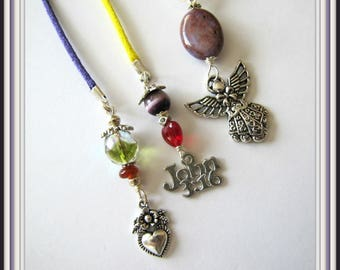 Beaded Book Marker, John 3:16, Angel, Heart,  Charms, Books , Zines,  Religious Bible  Marker, Page Marker,  Lime, Purple Cord Item #1230