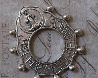 ON SALE World War II Era Prayer Tenner Rosary Ring Hail Mary Full Of Grace With Crucifix, With Blessed Virgin Mary Mother Of God