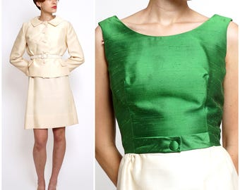 Vintage 1950s Classy Ivory & Green Belted Suit Set by Lilli Ann | Small