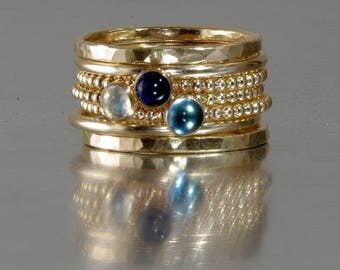 14k GOLD FILLED London Blue Topaz, Sappgire, Rainbow Moonstone Stacking Birthstones Mothers rings, Stackable Mothers Rings